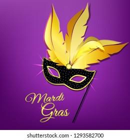 Mardi Gras mask on a purple background. Vector illustration.