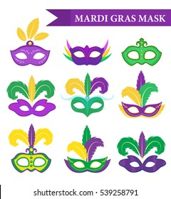 Mardi Gras mask set, design element, flat style. Mardi Gras collection masks with feathers, isolated on white background. Vector illustration, clip art