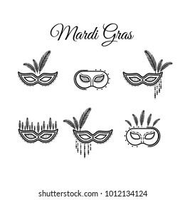 Mardi gras mask, vector mardi gras masks isolated on white. Set.