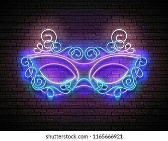 Mardi Gras Masquerade Mask. Shiny Neon Light Holiday Poster, Flyer, Banner, Playbill, Invitation. Venetian, Brazilian Carnival. Brick Wall, Vertical Seamless.Vector 3d Illustration. Clipping Mask