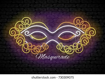 Mardi Gras Masquerade Mask. Shiny Neon Lamps Glow Stylization on Black Brick Wall. Venetian Carnival, Playbill, Night Club Invitation. Beautiful Holiday Flyer. Vector 3d Illustration. Abstract Art