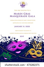 Mardi Gras Masquerade Party Invitation