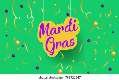Mardi Gras Paper art. Mardi Gras abstract hang on with golden confetties in green background. Vector Illustration. EPS 10