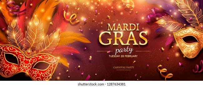 Mardi Gras party banner design with golden masks and feathers in 3d illustration, confetti and streamers background