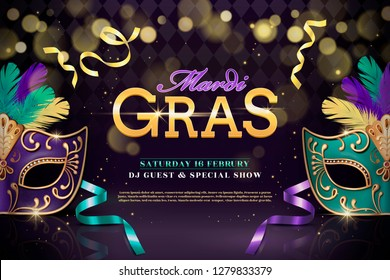 Mardi gras party design with half mask and feathers in 3d illustration on shimmering background