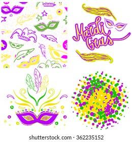 Mardi Gras party elements set