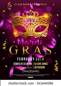 Mardi Gras party flyer design with carnival mask. Vector illustration