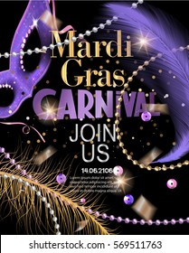 Mardi Gras Party invitation card with flying feathers,confetti, beads, sequins and carnival mask. Vector illustration
