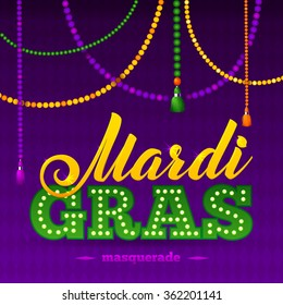 Mardi Gras Party Poster. Calligraphy and Typography Card. Beads Tassels and Fleur De Lis Symbol.  Holiday poster or placard template