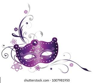 Mardi Gras Party. Purple Mask with Fleur De Lis and flowers.
