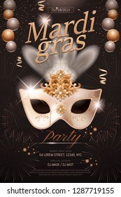 Mardi gras poster design with white mask and party decorations on black background in 3d illustration