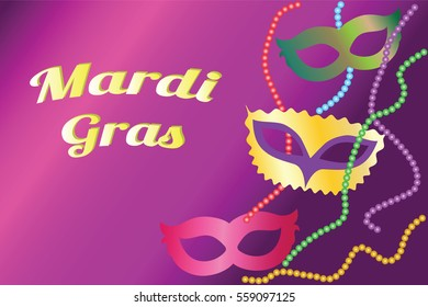 Mardi Gras poster. Greeting card with masks and beads. Vector illustration