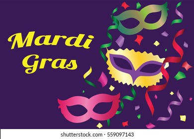 Mardi Gras poster. Greeting card with masks and ribbons. Vector illustration