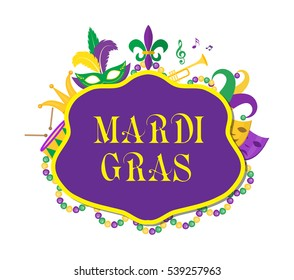 Mardi Gras poster with mask, beads, trumpet, drum, fleur de lis, jester hat, masks, comedy and drama. Mardi Gras Carnival template, flyer, invitation. Fat Tuesday background. Vector illustration