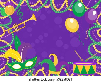 Mardi Gras poster with mask, beads, trumpet, drum, fleur de lis, jester hat. Mardi Gras Carnival template, flyer, invitation. Fat Tuesday background. Vector illustration
