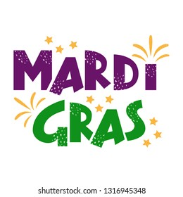 Mardi Gras purple and green text with stars and fireworks. American New Orleans Fat Tuesday poster, greeting card. Sidney Mardi Gras parade. Masquerade carnival lettering. Vector illustration.