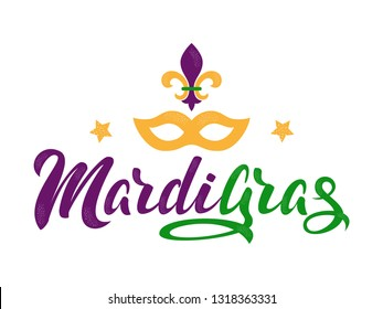 Mardi Gras purple and green text with masquerade mask and fleurs-de-lis. American New Orleans Fat Tuesday poster, greeting card. Sidney Mardi Gras parade. Carnival lettering. Vector illustration.