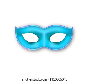 Mardi Gras realistic mask blue color. Venetian painted Carnival Face Mask. Masquerade colorful party decoration isolated on white background. Vector illustration.