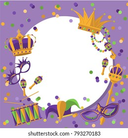 Mardi Gras round frame template with space for text. Mardi Gras Carnival poster, flyer, invitation. Party, parade background. Vector illustration