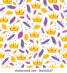 Mardi Gras seamless pattern with crowns, feathers and confetti. Perfect for wallpaper, pattern fills, web page background, textile, holiday greeting cards