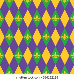 Mardi Gras seamless pattern with harlequin pattern and fleur-de-lis symbol. Perfect for wallpaper, pattern fills, web page background, textile, holiday greeting cards