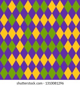 Mardi Gras seamless pattern with yellow, green and purple diamonds. Abstract geometric rhombus background. Good for holiday greeting cards, wallpaper, pattern fills, web page background, textile.