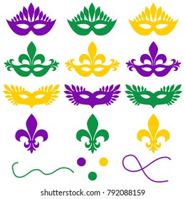 Mardi gras. Set of objects isolated on a white background - masks, beads, confetti, fleur de lis. Shrove Tuesday, Fat Tuesday