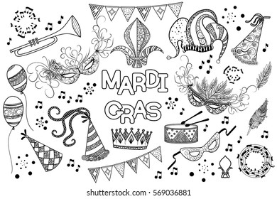 Mardi Gras or Shrove Tuesday black and white design element set. Mardi Gras carnival mask and hats, jester's hat, crowns, fleur de lis, feathers, party decorations. Vector illustration, clip art