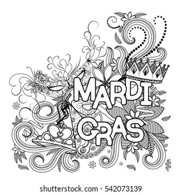 Mardi Gras or Shrove Tuesday. Carnival masks, hats, ribbons and crown. Black and white vector illustration.