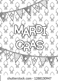 Mardi Gras or Shrove Tuesday. Coloring page for adult coloring book. Vector illustration.