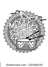 Mardi Gras or Shrove Tuesday coloring page for adult coloring book. Vector illustration.