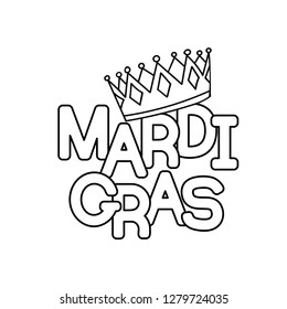 Mardi Gras or Shrove Tuesday. Vector illustration. Coloring page for coloring book.