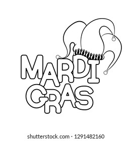 Mardi Gras or Shrove Tuesday. Vector illustration. Coloring page for adult coloring book.