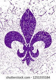 Mardi gras simbol - Fleur de lis. Grunge background