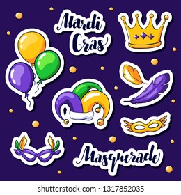 Mardi gras stickers set. Vector masks, jester hat, balloons and crown. Mardi gras carnival elements in doodle style. Masquerade and Mardi gras hand drawn lettering.
