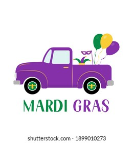 Mardi Gras truck. Fat Tuesday traditional carnival in New Orleans. Vector element of design for banner, flyer, party invitation, etc.