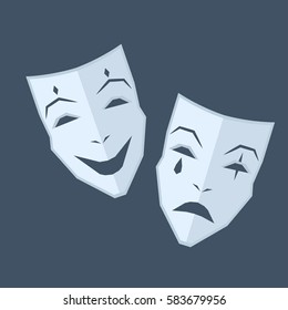 Mardi Gras. Two blue masks with emotions of happiness and sadness on navy-blue background. Theatrical symbol illustration. Play-actors accessory for performances isolated vector illustration.