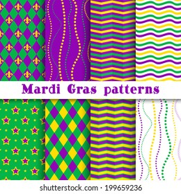 Mardi gras vector different seamless pattern: argyle, chevron, beading, stars, wavy background; white, yellow, green, purple, violet colors.  Pattern swatches included in the Swatches panel.