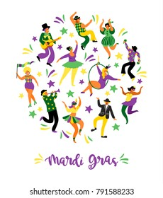 Mardi Gras. Vector illustration of funny dancing men and women in bright costumes. Design element for carnival concept and other users