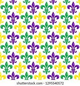 Mardi Gras vector seamless pattern with colorful fleur-de-lis on white background. Perfect for wrapping paper, fabric or greetings cards.