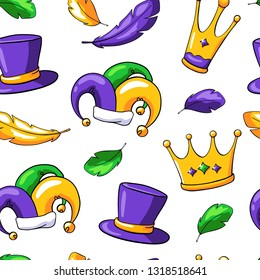 Mardi gras vector seamless pattern on white background. Mardi gras carnival elements in doodle style: crown, feather, hat, jester hat.