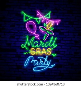 Mardi Grav is a neon sign. Bright glowing banner, neon billboard, neon advertising of carnival. Fat Tuesday Design template, greeting card, flyer. Vector illustration. Editing text neon sign