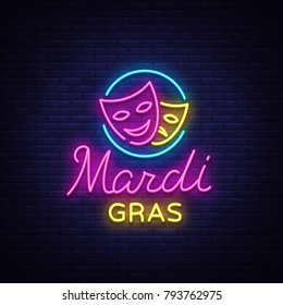 Mardi Grav is a neon sign. Bright glowing banner, luminous sign, bright neon billboard, night neon advertising of carnival. Fat Tuesday Design template, greeting card, flyer. Vector illustration
