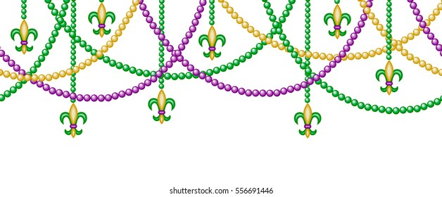 Mardy gras horizontal seamless border with beads