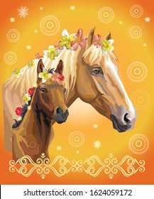Mare and foal vector colorful realistic illustration. Portrait of horses with different flowers in mane isolated on orange gradient background with decorative ornament. Image for art and design