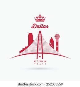 Margaret Hunt Hill Bridge sign - Dallas, Texas - vector illustration