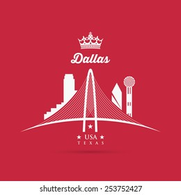 Margaret Hunt Hill Bridge sign - Dallas, Texas - vector illustration