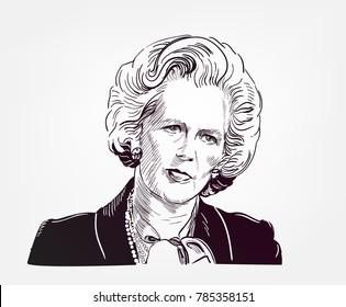 Margaret Thatcher vector sketch illustration