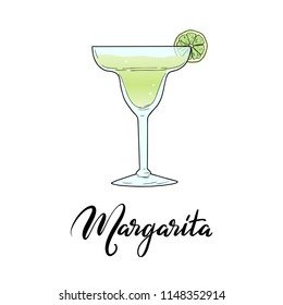 Margarita alcoholic cocktail in glass with lime slice and lettering typography. Vector illustration isolated on white background. Hand sketched composition made for menu design, bar, restaurant, print