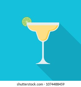 Margarita cocktail flat icon with long shadow isolated on blue background. Simple alcoholic drink in flat style, vector illustration.